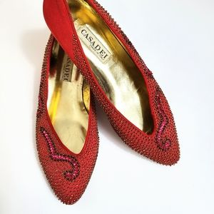 Casadei Italy Vintage Red Sequin Beaded Flats